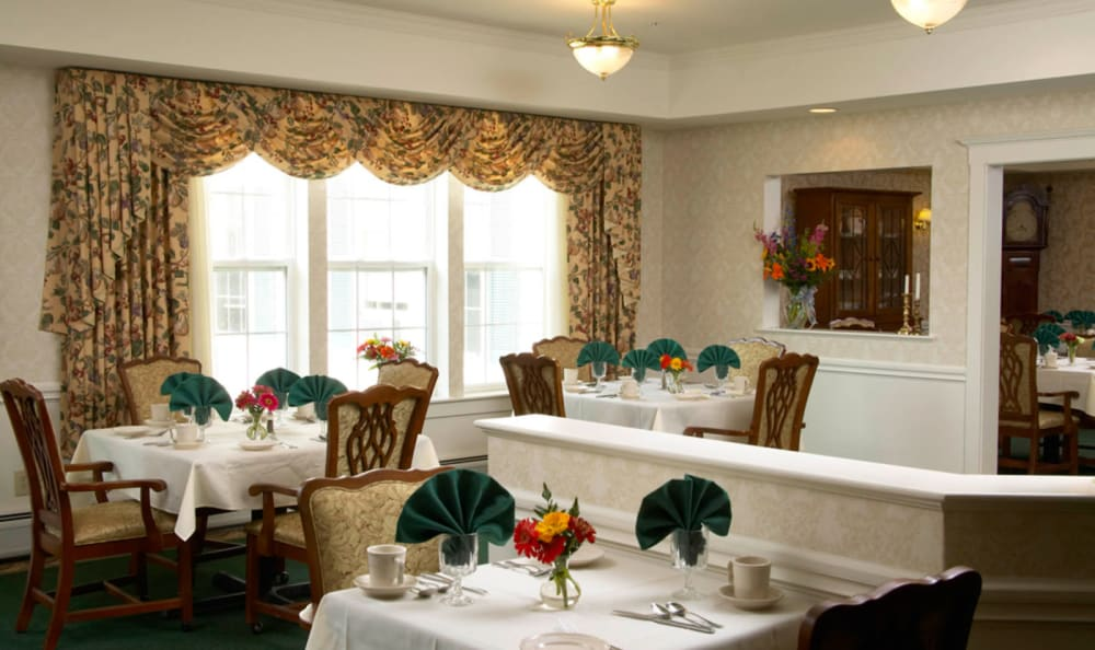 Lovely community dining area at Wheelock Terrace in Hanover, New Hampshire