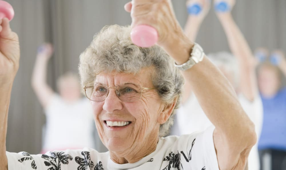 Residents having fun exercising at Windham Terrace in Windham, New Hampshire