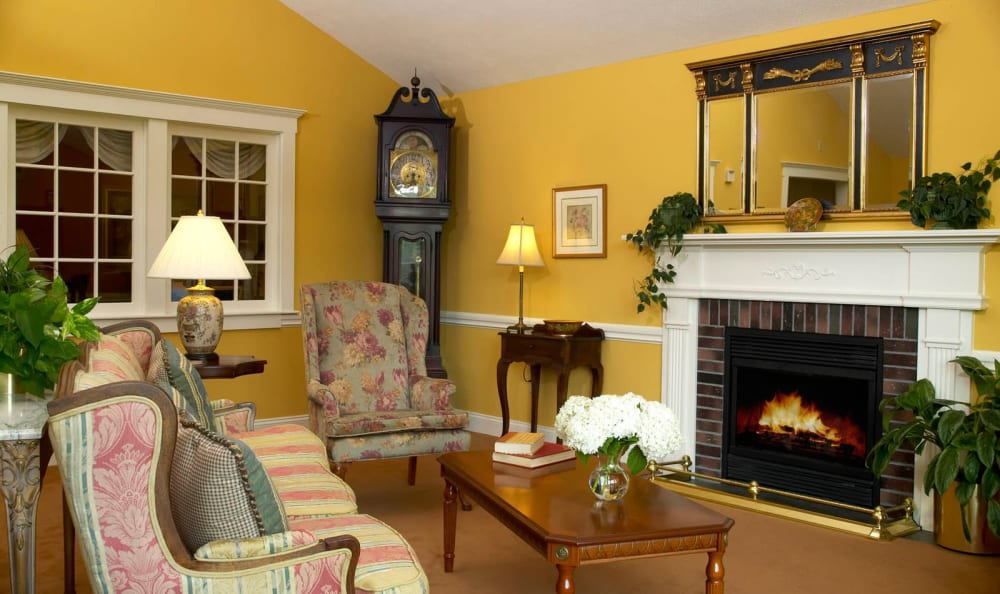 Fireplace at Woodstock Terrace in Woodstock, Vermont
