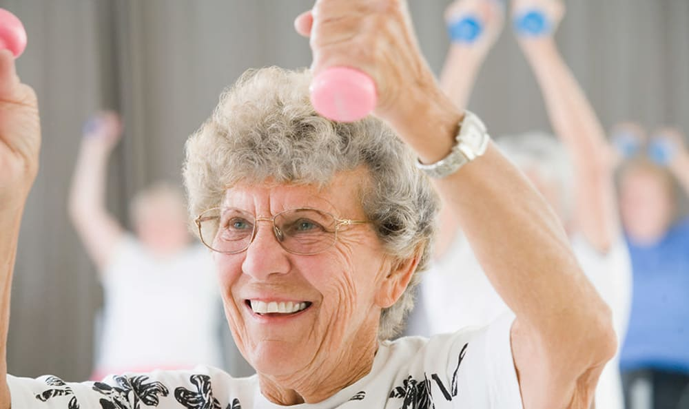 Resident enjoying a fitness program at Scarborough Terrace in Scarborough, Maine
