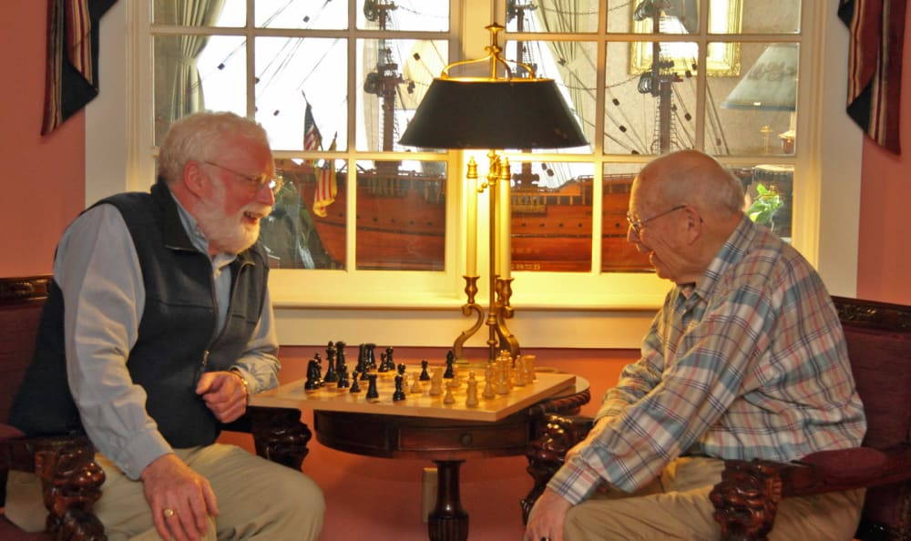 Residents playing chess at Scarborough Terrace in Scarborough, Maine