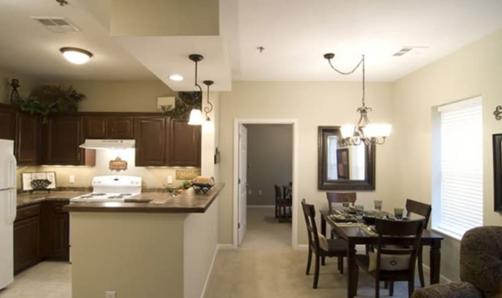 Resident kitchen and dining area at Armour Oaks Senior Living Community in Kansas City, Missouri.