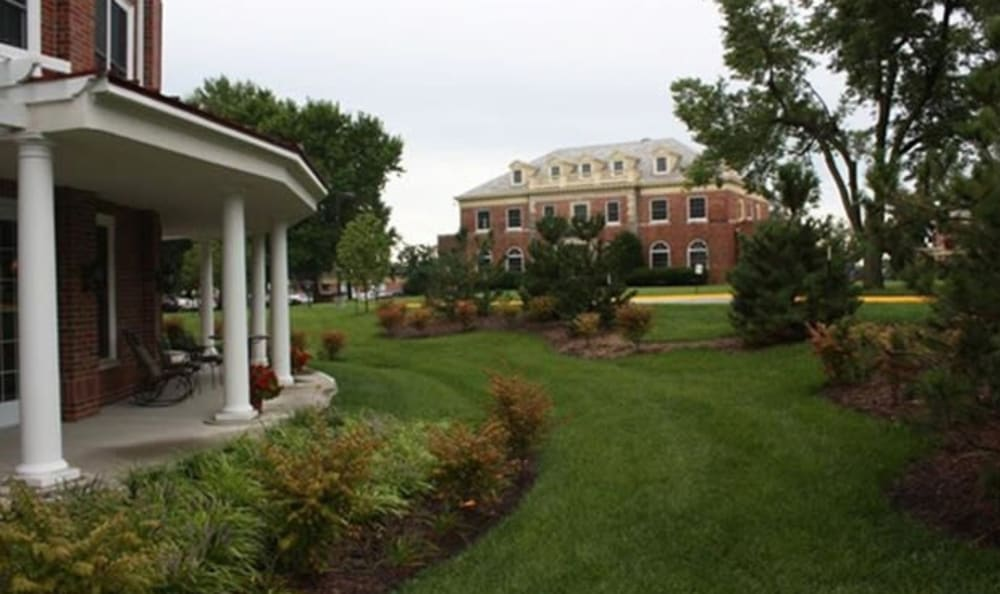 Lush grounds at Armour Oaks Senior Living Community in Kansas City, Missouri.
