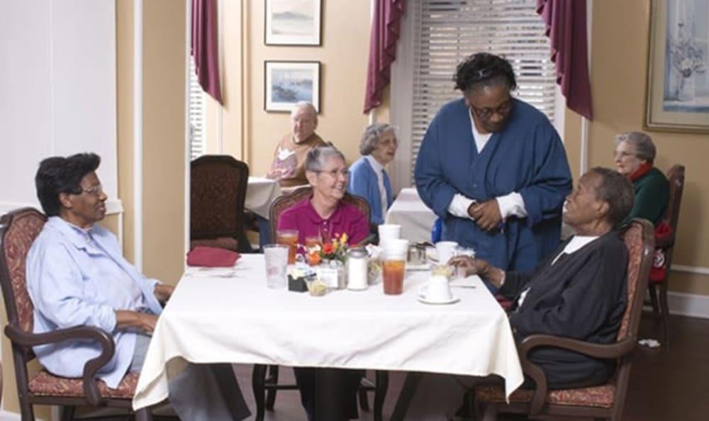 Residents in the dining room at Armour Oaks Senior Living Community in Kansas City, Missouri.