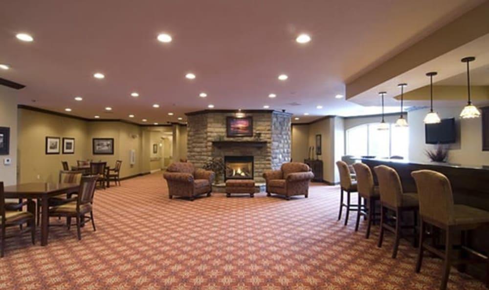 Large lounge at Armour Oaks Senior Living Community in Kansas City, Missouri.