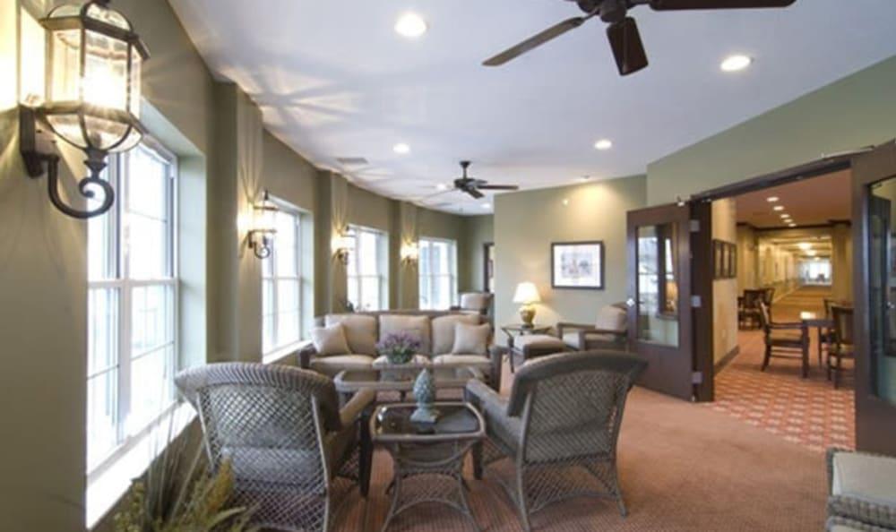 Intimate lounge area at Armour Oaks Senior Living Community in Kansas City, Missouri.