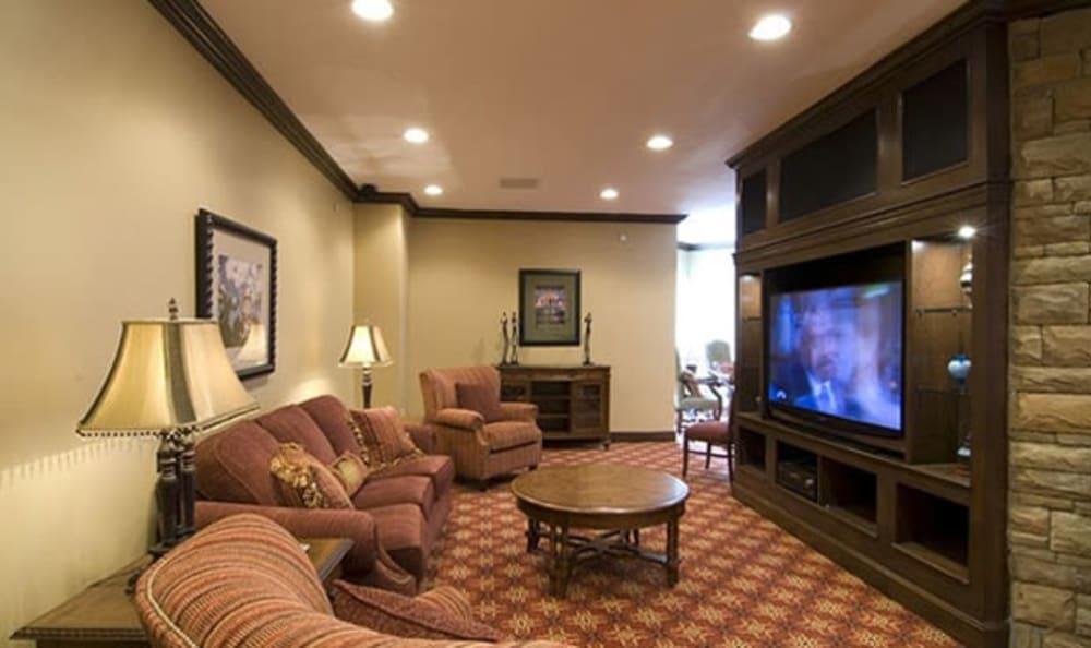 Comfy TV area at Armour Oaks Senior Living Community in Kansas City, Missouri.