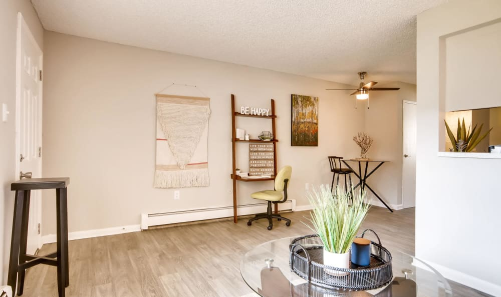 Spacious living room with a ceiling fan at Mountain Vista in Lakewood, Colorado