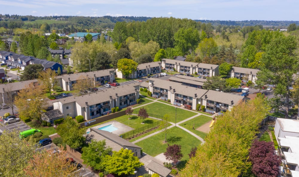 Aerial view of at Arbor Chase Apartment Homes in Kent, WA