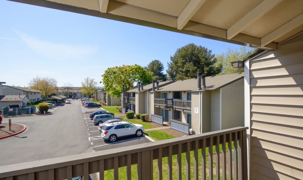 Balcony available at apartments at Arbor Chase Apartment Homes in Kent, WA