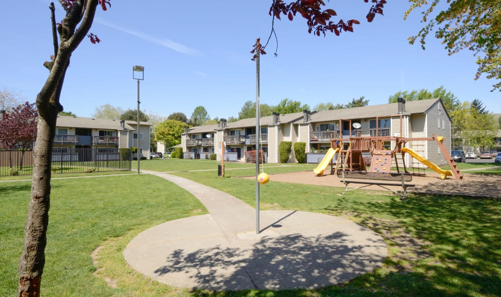 Play some tether-ball at Arbor Chase Apartment Homes in Kent, WA