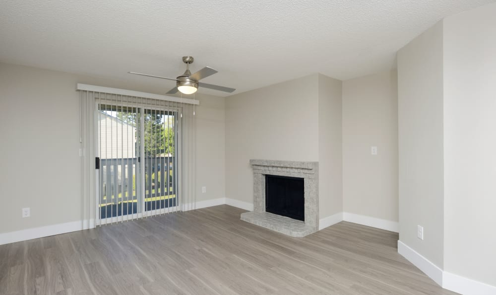 Spacious living room at Discovery Landing Apartment Homes in Burien, WA