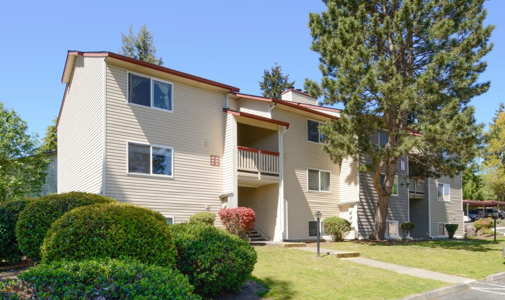 Exterior shot of apartments at Discovery Landing Apartment Homes in Burien, Washington