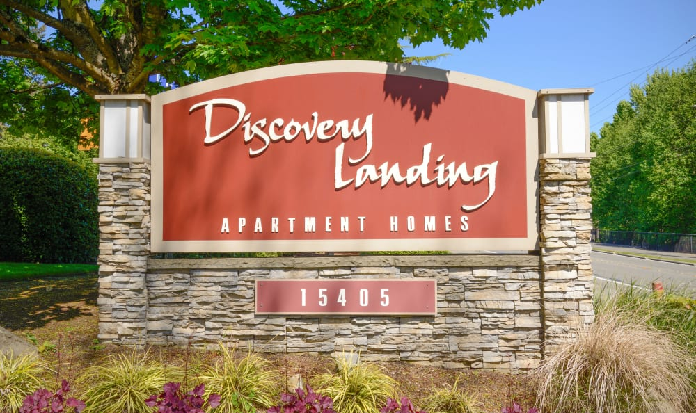 Sign at Discovery Landing Apartment Homes in Burien, Washington