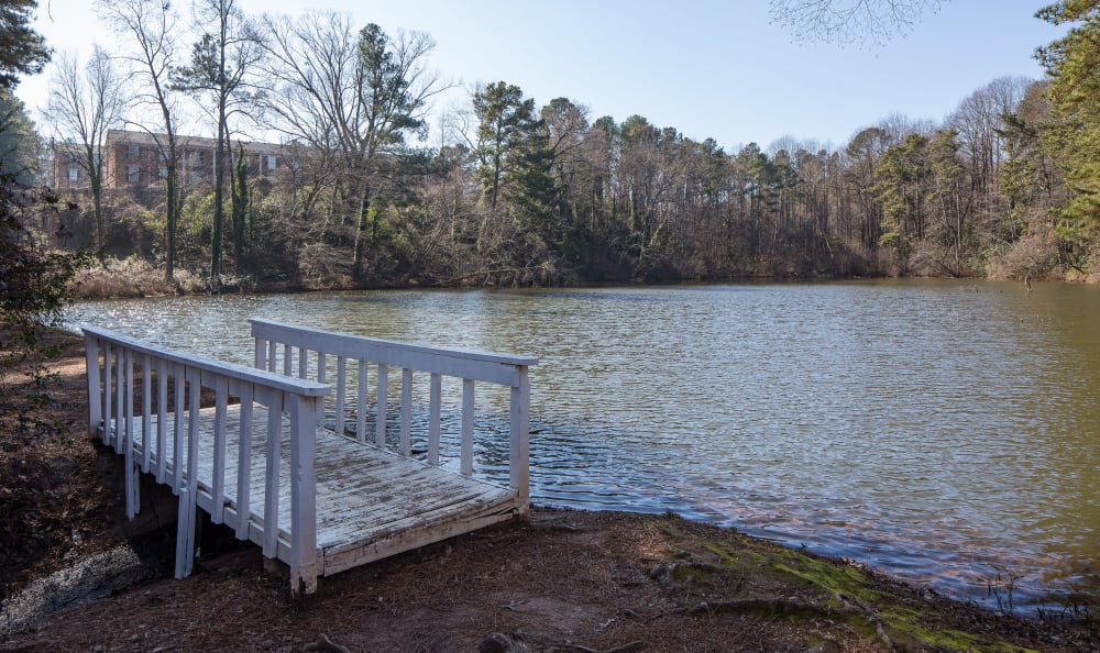 Local pond for residents to enjoy at Premier Apartments in Austell, Georgia