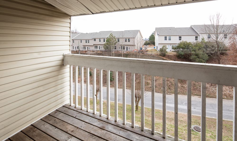 Private balcony with a view at Premier Apartments in Austell, Georgia
