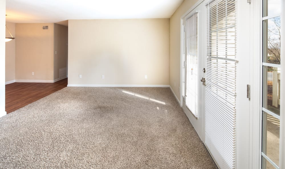 Spacious living room with plush carpeting and large windows for natural light at Premier Apartments in Austell, Georgia