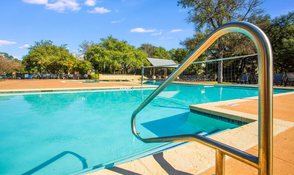 One of the resort-style swimming pools at Riata Austin in Austin, Texas