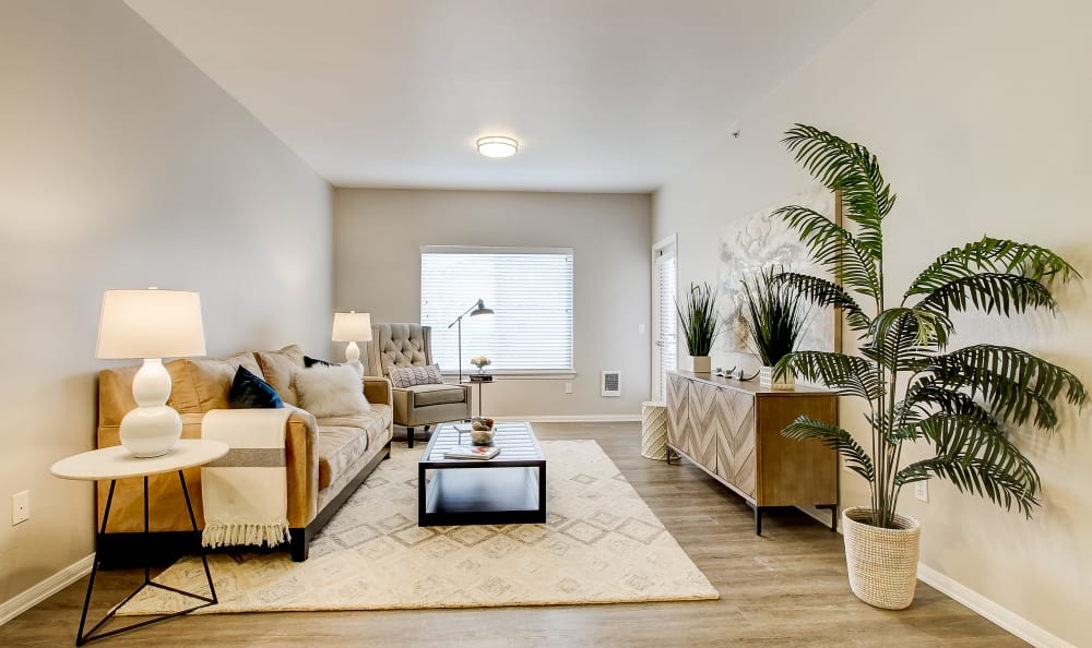 Modern decor in a model home's living area at River Trail Apartments in Puyallup, Washington