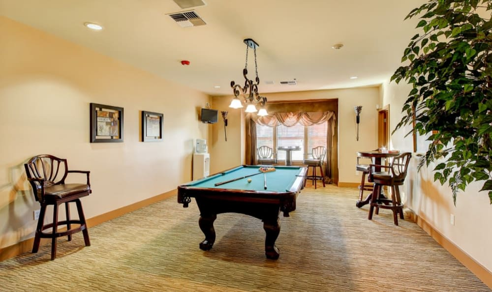 Billiards table in the game room at River Trail Apartments in Puyallup, Washington