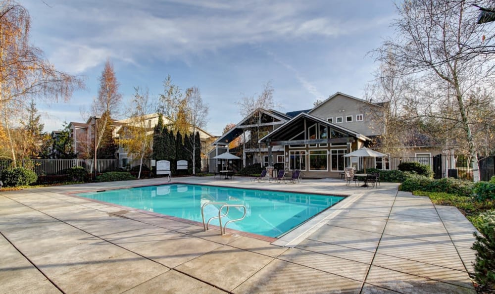 Pool area at River Trail Apartments in Puyallup, Washington