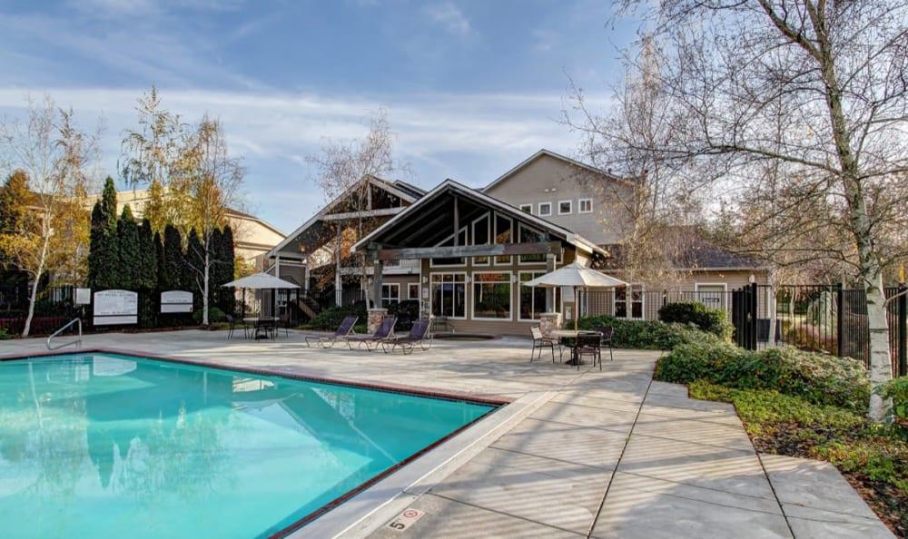 Beautiful swimming pool at River Trail Apartments in Puyallup, Washington