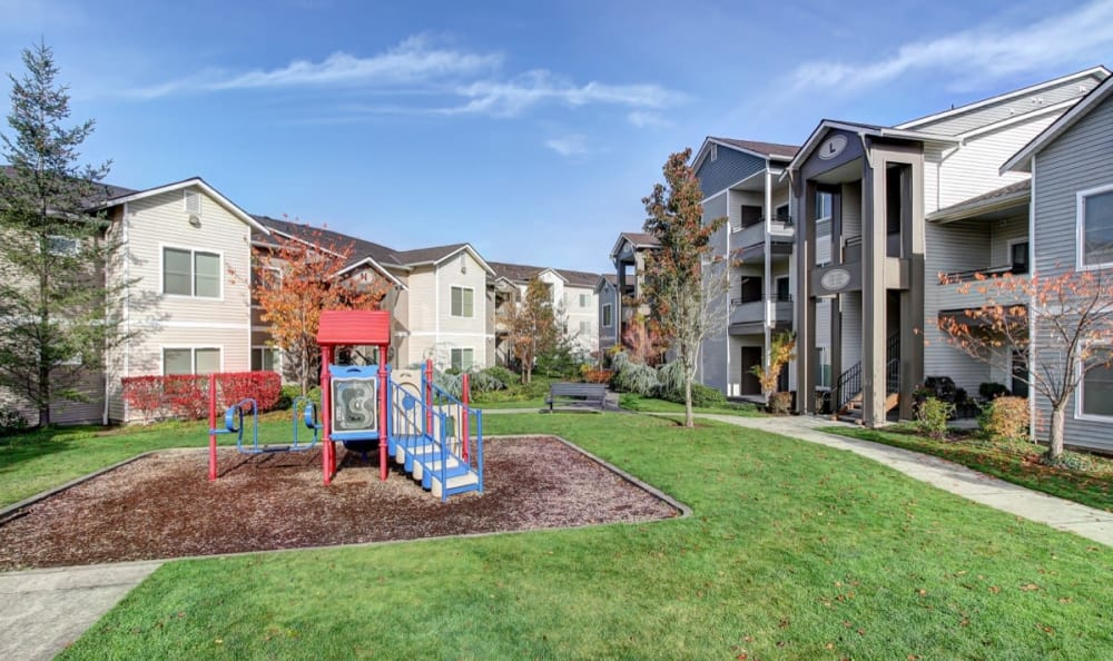 Onsite playground at River Trail Apartments in Puyallup, Washington