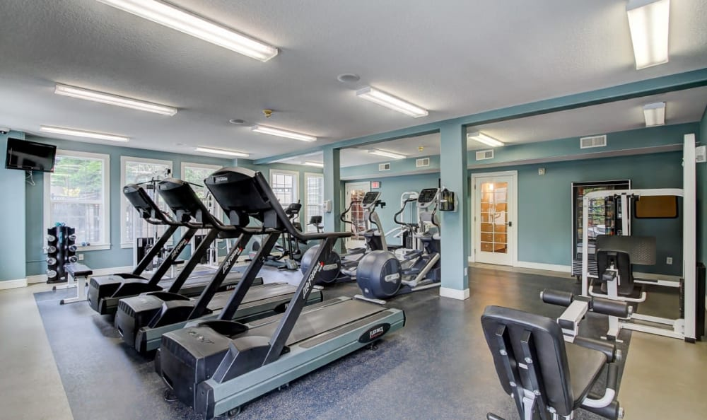 Well-equipped fitness center at Columbia Trails in Gresham, Oregon