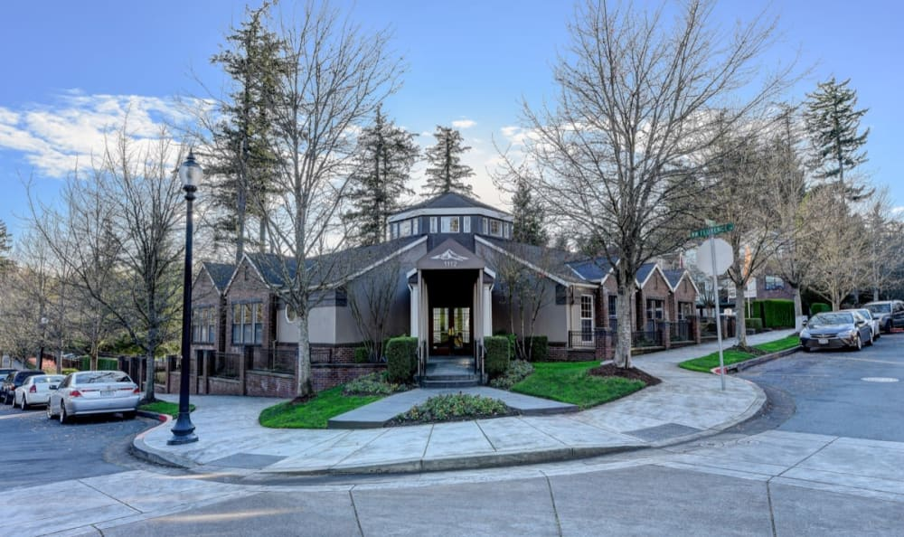 Exterior view of the leasing office at Columbia Trails in Gresham, Oregon