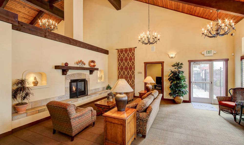 Classic decor in the clubhouse at Eaglewood Apartments in Woodland, California