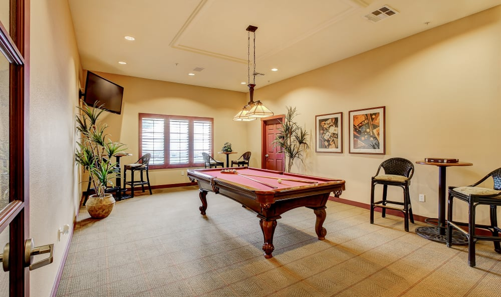 Billiards table in the resident clubhouse at Eaglewood Apartments in Woodland, California