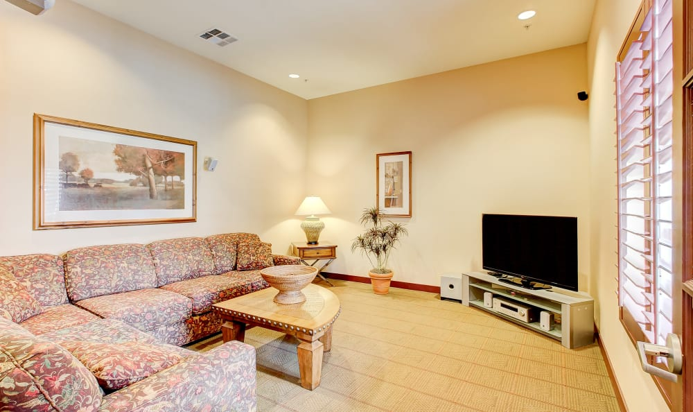 Spacious living area in a model home at Eaglewood Apartments in Woodland, California