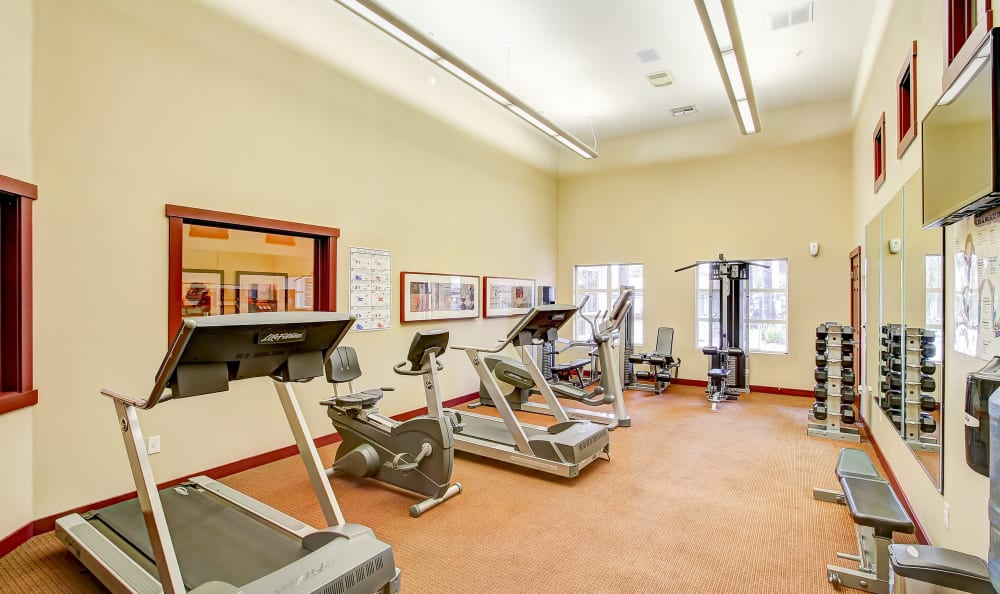Well-equipped fitness center at Eaglewood Apartments in Woodland, California