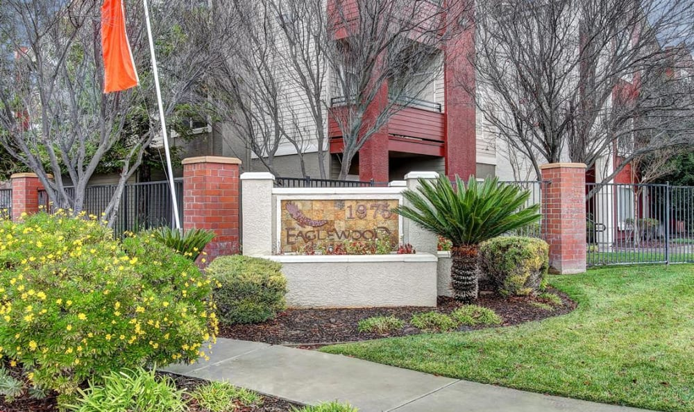 Our monument sign at Eaglewood Apartments in Woodland, California