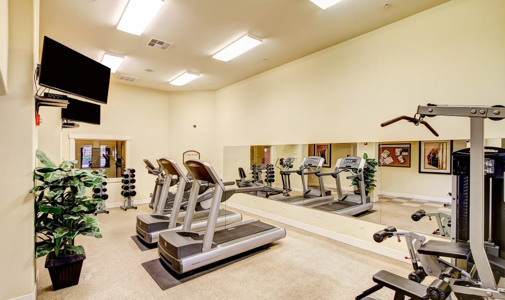 State-of-the-art fitness center at Sierra Oaks Apartments in Turlock, California