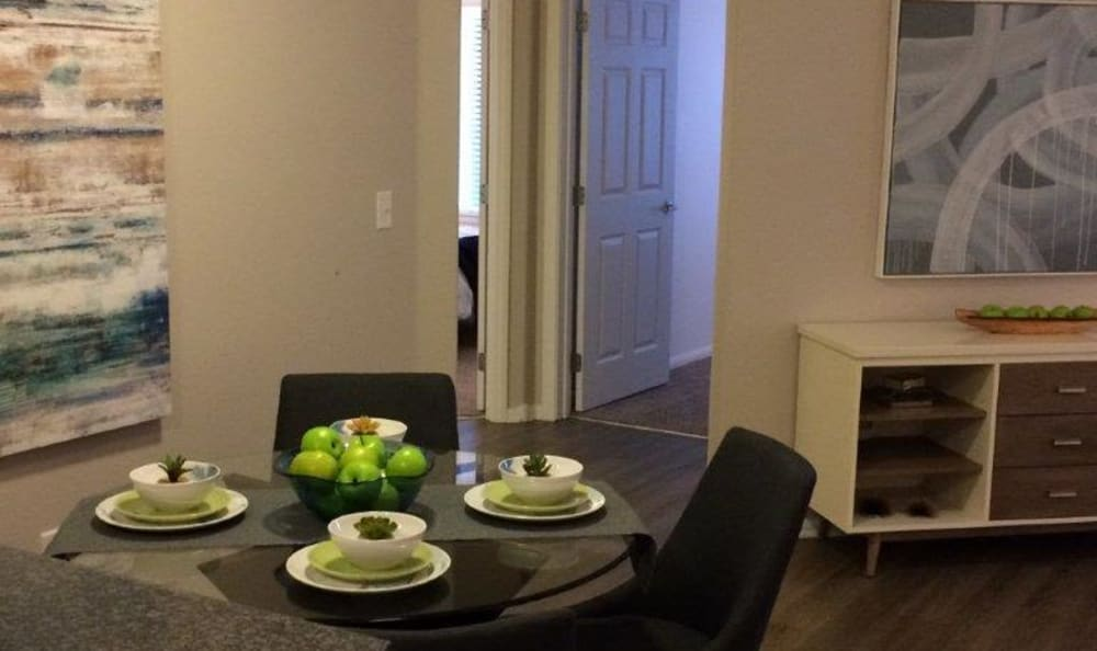 Dining area in a model home at Eaglewood Apartments in Woodland, California