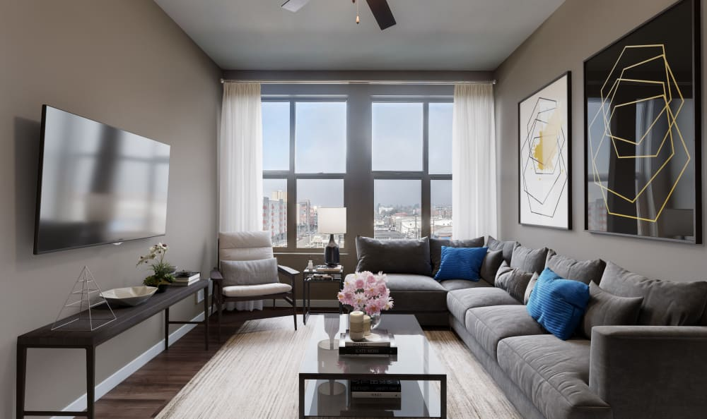 City views from the comfort of your living room at Lumen Apartments in Everett, Washington