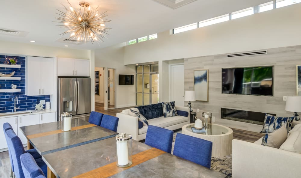 Luxurious clubhouse interior with residents getting to know each other at Watergate Pointe in Annapolis, Maryland