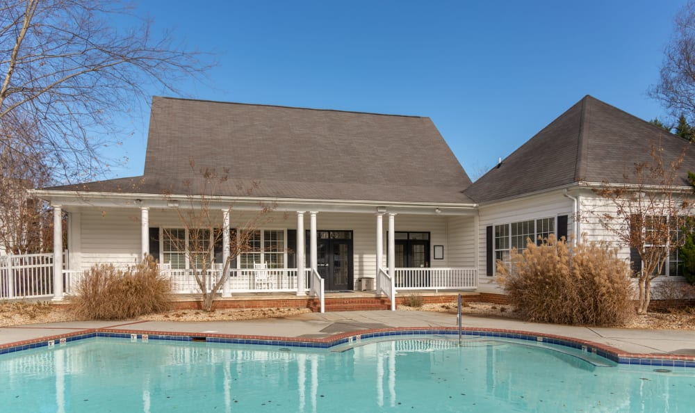 Swimming pool with a sundeck at The Overlook at Stonemill in Lynchburg, Virginia