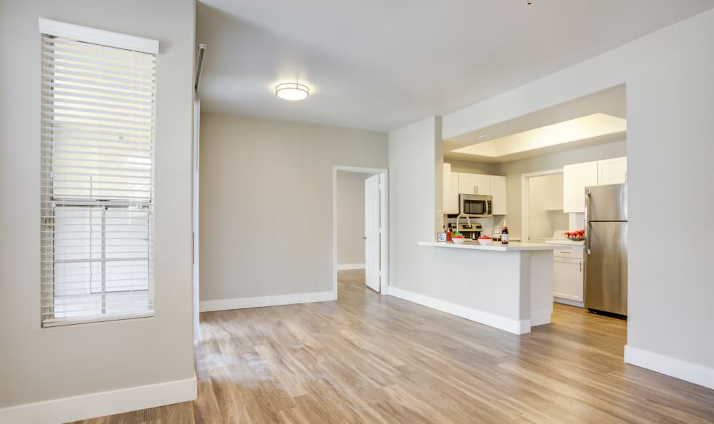 Hardwood Floors with view of kitchen at Apartments in Chandler, Arizona