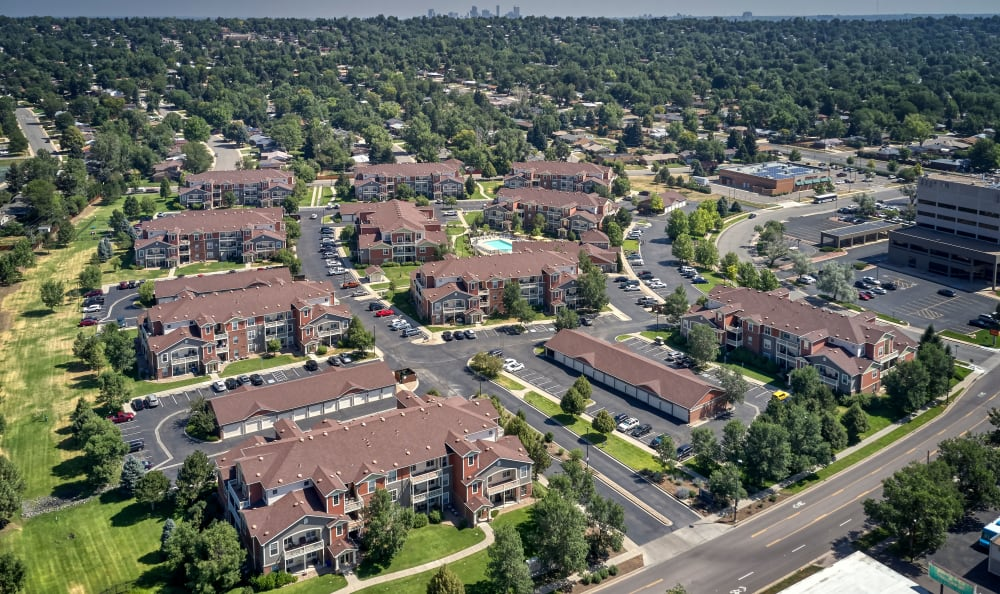 Aerial view of property and surrounding area at Bear Valley Park in Denver, Colorado
