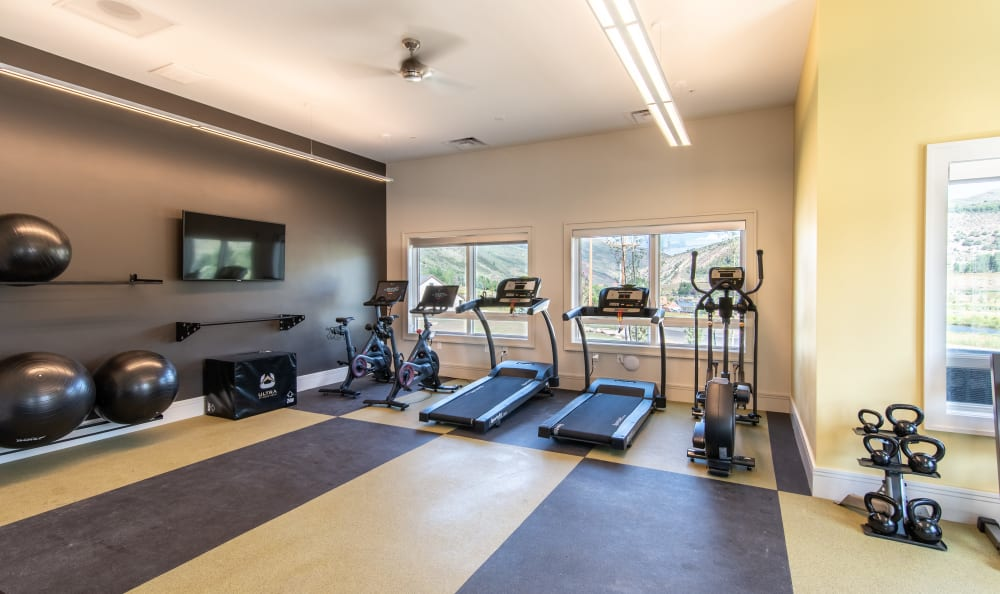 Bright gym area at 6 West Apartments in Edwards, Colorado