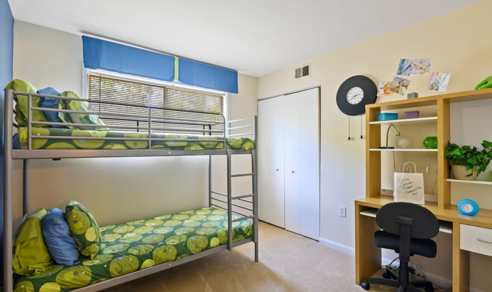 Spacious bedroom for children at Capital Crossing in Suitland, Maryland