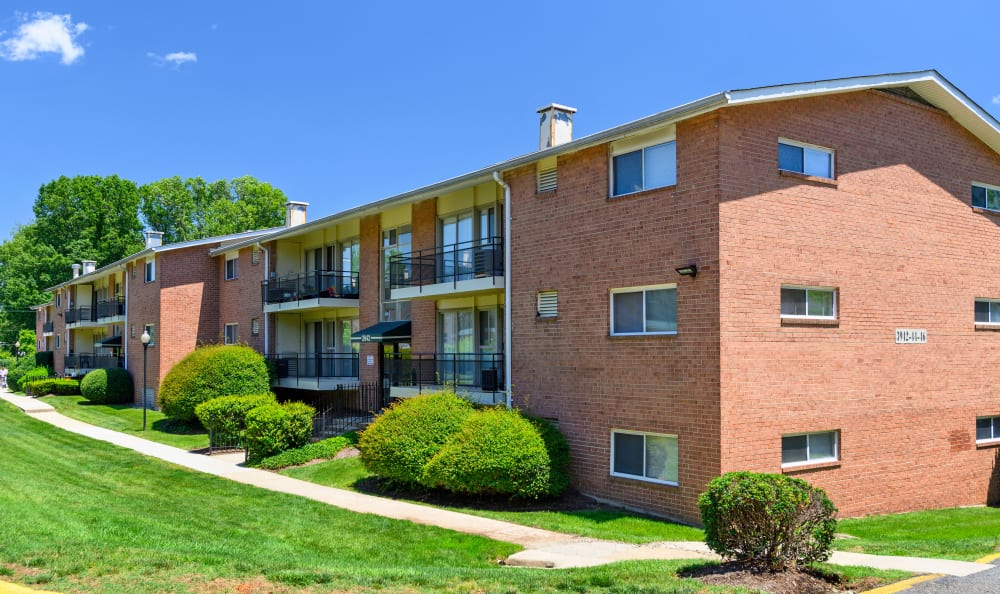 Brick exterior with balconies at Capital Crossing in Suitland, Maryland