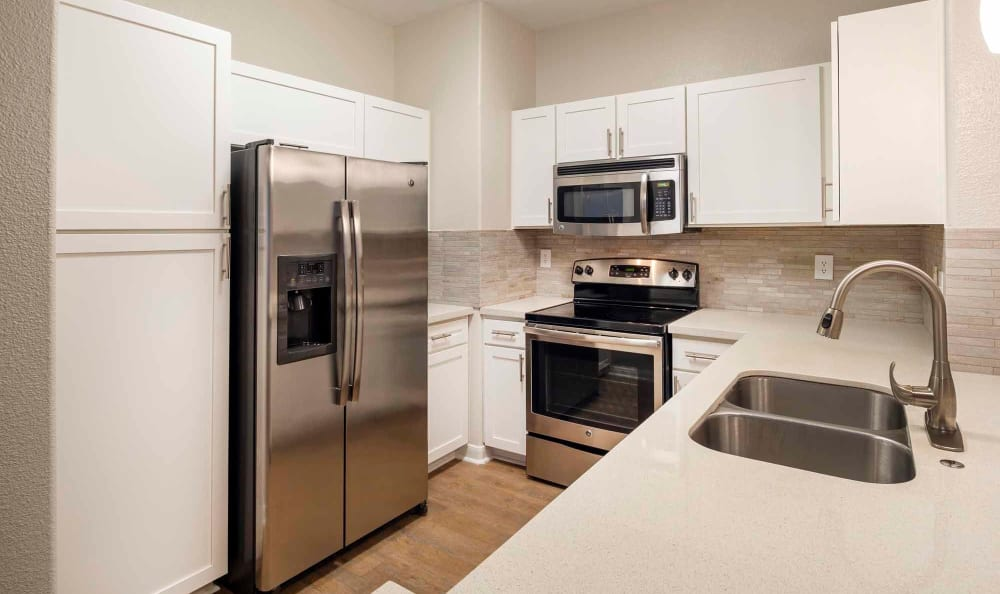 Modern kitchen appliances at San Paloma Apartments