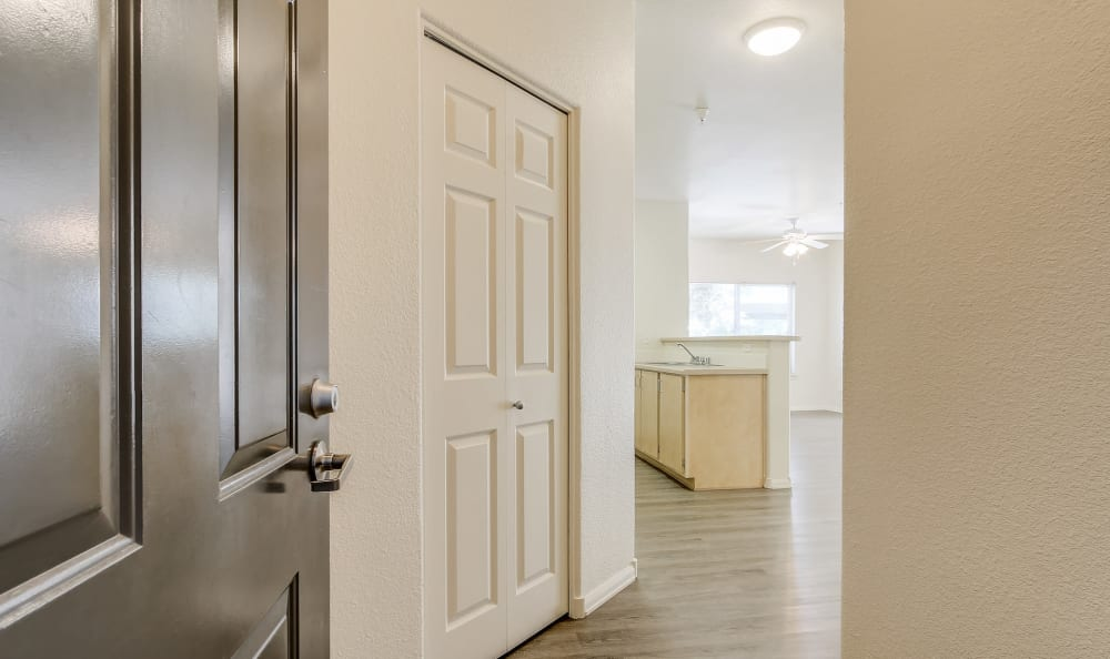 Front door at Eaglewood Apartments in Woodland, California