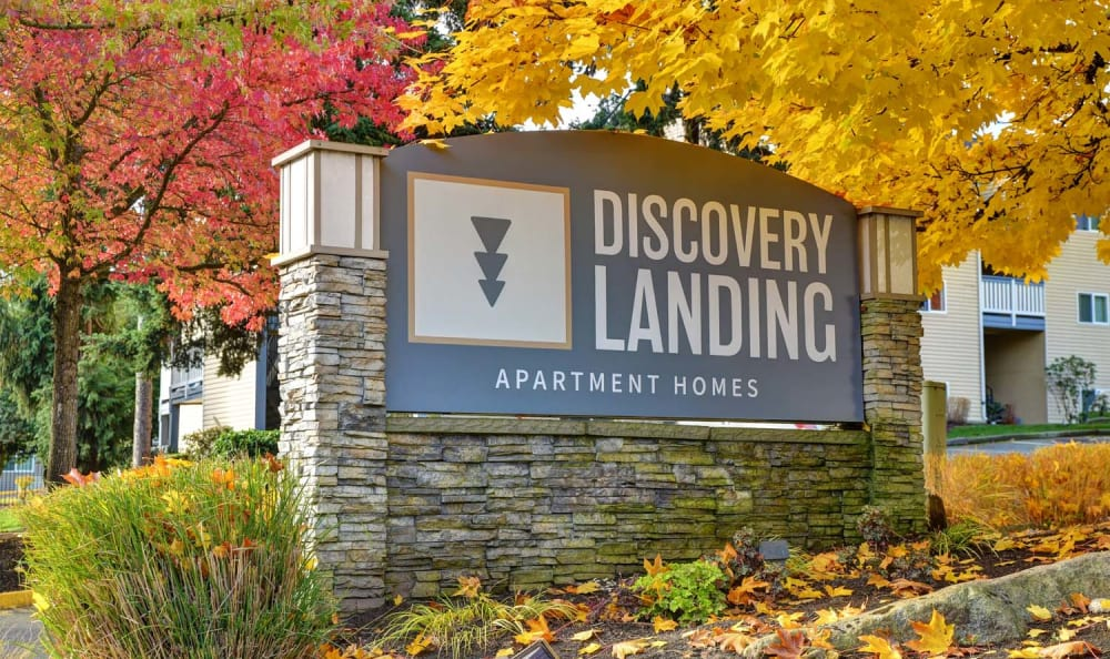 Entrance Signage at Discovery Landing Apartment Homes in Burien, Washington