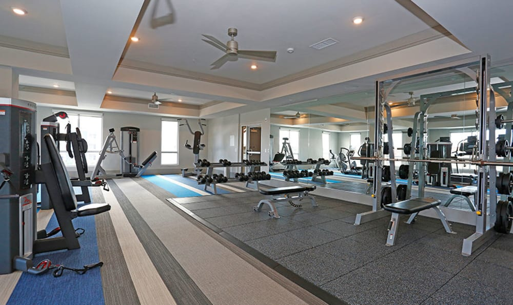 Fitness center with plenty of workout stations at Vue at Belleair in Clearwater, Florida