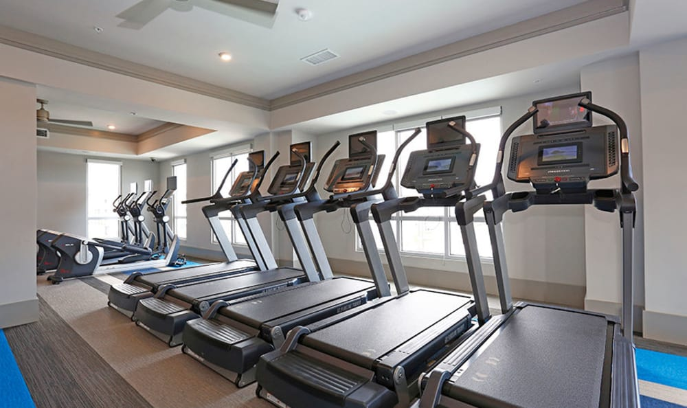Fitness center with plenty of treadmills at Vue at Belleair in Clearwater, Florida