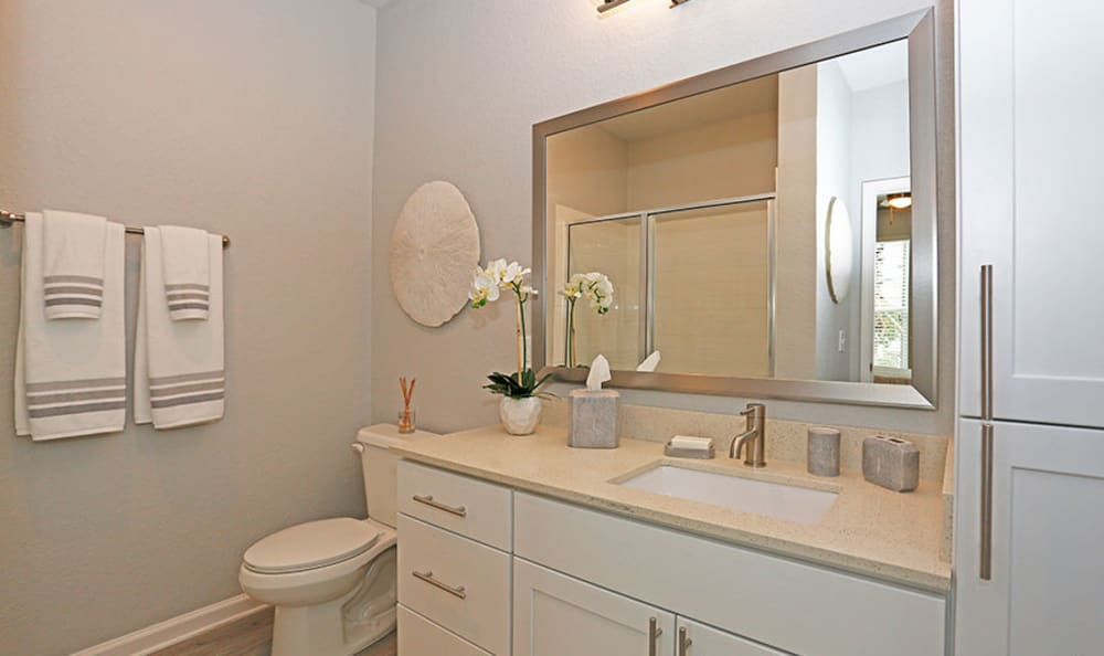 Bathroom with a large Vanity mirror and white cabinets at Vue at Belleair in Clearwater, Florida